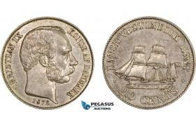 AC207, Danish West Indies, Christian IX, 20 Cents 1878, Copenhagen, Silver, AU+
