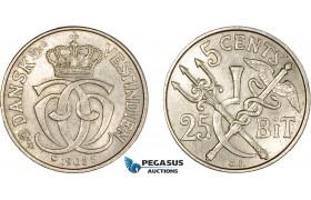 AC208, Danish West Indies, Christian IX, 5 Cents - 25 Bit 1905, Copenhagen, AU-UNC