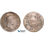 AC210, France, Napoleon I, 1/4 Franc AN 14-L, Bayonne, Silver, Toned VF (Mount?)