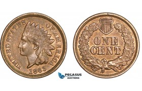 AC214, United States, Indian Cent 1863, Philadelphia, Red Brown AU