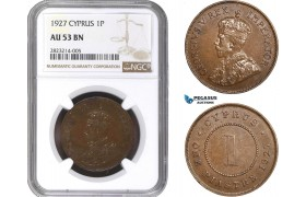 AC223, Cyprus, George V, 1 Piastre 1927, NGC AU53