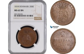 AC224, Denmark, Frederik VI, 2 Rigsbankskilling 1818, Copenhagen, NGC MS62BN