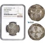AC227, France, Louis XIII, 1/4 Ecu 1619 (9) Rennes, Silver, NGC UNC Det.