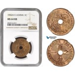 AC235, French Indo-China, 1 Centime 1902-A, Paris, NGC MS64RB