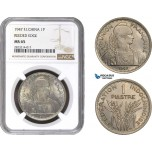 AC237, French Indo-China, 1 Piastre 1947, Paris, NGC MS65 (Reeded Edge)