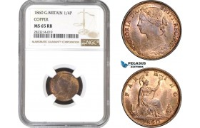 AC239, Great Britain, Victoria, Farthing 1860, London, NGC MS65RB