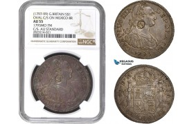 "AC241, Great Britain, George III ""Emergency Dollar"" 1795, Oval C/S on 8 Reales 1795, Mexico City, Silver, NGC AU55"