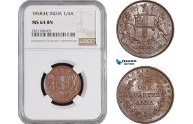 AC243, India (EIC) 1/4 Anna 1858 (H) Heaton, NGC MS64BN