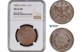 AC244, India (EIC) 1/2 Anna 1845 (C) Calcutta, NGC MS65BN, Rare!