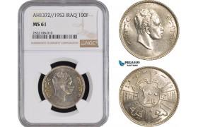 AC246, Iraq, Faisal II, 100 Fils AH1372/1953, Silver, NGC MS61