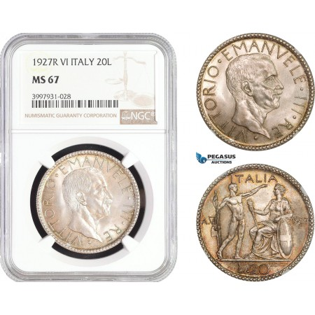 AC248, Italy, Vittorio Manuele III, 20 Lire 1927-R, A. VI, Rome, Silver, NGC MS67, Pop 4/0