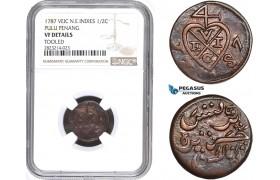 AC250, Netherlands East Indies (VEIC) Pulu Penang, 1/2 Cent 1787, Dor Rosette, NGC VF Details