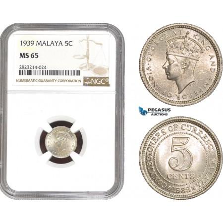 AC251, Malaya, George VI, 5 Cents 1939, Silver, NGC MS65