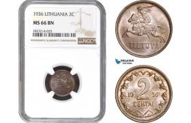 AC252, Lithuania, 2 Centai 1936, NGC MS66BN, Pop 2/0, Rare Grade!