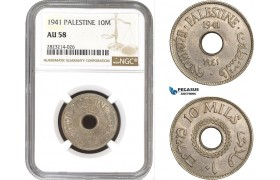 AC253, Palestine, 10 Mils 1941, London, NGC AU58