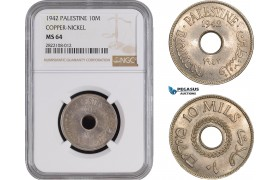 AC254, Palestine, 10 Mils 1942, London, Cu-Ni,  NGC MS64
