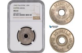 AC254, Palestine, 10 Mils 1942, London, Cu-Ni,  NGC MS64