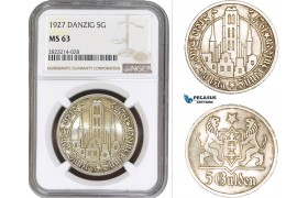 AC255, Poland, Danzig, 5 Gulden 1927, Silver, NGC MS63 (Undergraded)