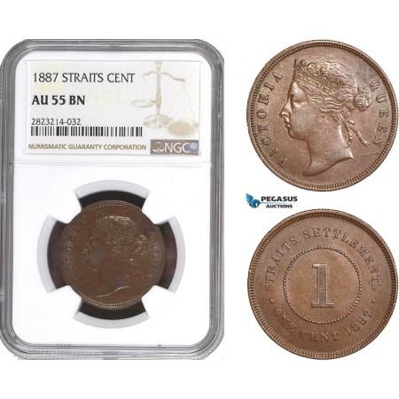 AC261, Straits Settlements, Victoria, 1 Cent 1887, NGC AU55BN