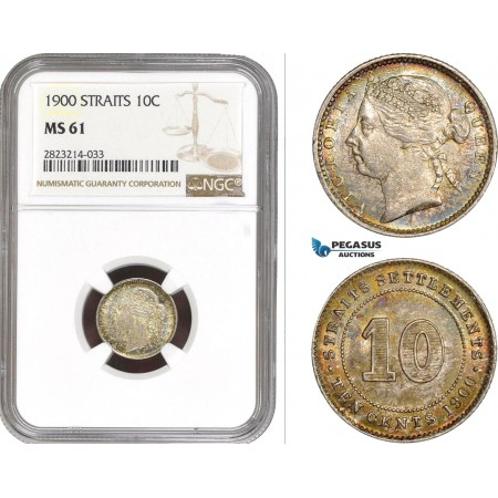 AC262, Straits Settlements, Victoria, 10 Cents 1900, Silver,  NGC MS61