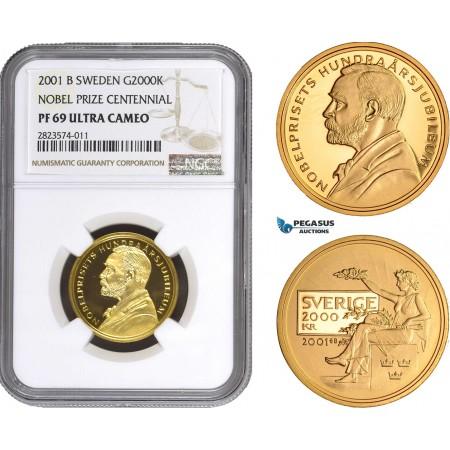 AC264, Sweden, Nobel Prize Centennial 2000 Kronor 2001, Stockholm, Gold, NGC PF69UC, Pop 2/1