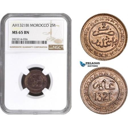AC266, Morocco, Abd al-Aziz, 2 Muzunas AH1321-BI, Birmingham, NGC MS65BN, Pop 1/0