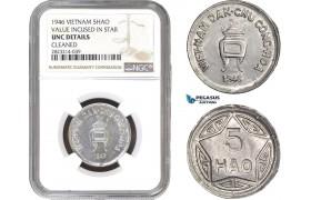 AC269, Vietnam, 5 Hao 1946, Vladivostok (Value Incused in Star) NGC UNC Det. Rare!