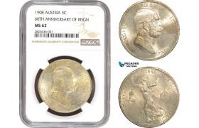 "AC271, Austria, Franz Joseph, 5 Corona 1908, Vienna, Silver ""60TH ANNIVERSARY OF REIGN"" NGC MS62"