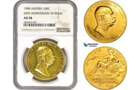 "AC272, Austria, Franz Joseph, ""Lady in the clouds"" 100 Corona 1908, Vienna, Gold ""60TH ANNIVERSARY OF REIGN"" NGC AU58"