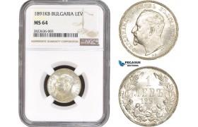 AC273, Bulgaria, Ferdinand I, 1 Lev 1891-KB, Kremnitz, Silver, NGC MS64, Pop 1/0