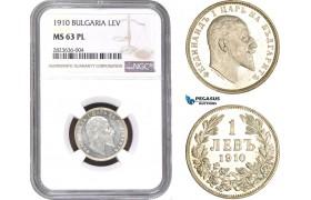 AC274, Bulgaria, Ferdinand I, 1 Lev 1910, Silver, NGC MS63PL, Pop 1/0