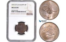 AC277, Ottoman Empire, Egypt, Abdulaziz, 4 Para AH1277/4, Misr, NGC MS64BN
