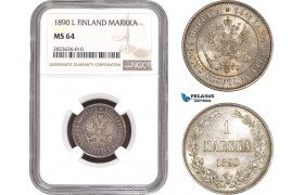 AC280, Finland (under Russia) Alexander III, 1 Markka 1890-L, Silver, NGC MS64