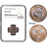 AC282-R, France, Third Republic, 2 Centimes 1897-A, Paris, NGC MS65BN