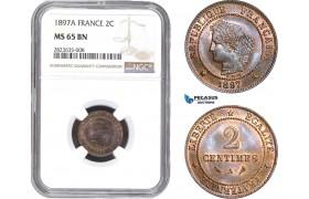 AC282-R, France, Third Republic, 2 Centimes 1897-A, Paris, NGC MS65BN