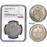 AC284, France, Louis Philippe I, 5 Francs 1834-I, Limoges, Silver, NGC MS62, Pop 1/0