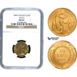 AC286, France, Second Republic, 20 Francs 1849-A, Paris, Gold, NGC MS62