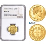 AC288, France, Napoleon III, 20 Francs 1859-A, Paris, Gold, NGC MS62+