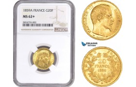 AC288, France, Napoleon III, 20 Francs 1859-A, Paris, Gold, NGC MS62+