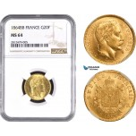 AC289, France, Napoleon III, 20 Francs 1864-BB Large