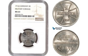 AC292, Germany (Military) East Prussia, 2 Kopeks 1916-J, Hamburg, NGC MS63