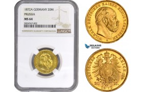 AC293, Germany, Prussia, Wilhelm I, 20 Mark 1872-A, Berlin, Gold, NGC MS64 (Prooflike)