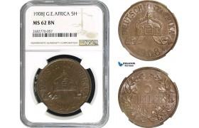 AC294, German East Africa, Wilhelm II, 5 Heller 1908-J, Hamburg, NGC MS62