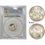 AC295, German East Africa, Wilhelm II, 1/4 Rupie 1891, Berlin, Silver, PCGS MS63+