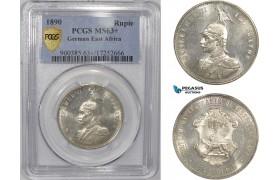 AC296, German East Africa, Wilhelm II, 1 Rupie 1890, Berlin, Silver, PCGS MS63+