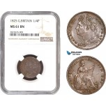 AC297-R, Great Britain, George IV, Farthing (1/4 Penny) 1825, London, NGC MS61BN
