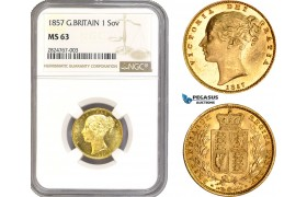 AC299, Great Britain, Victoria, 1 Sovereign 1857, Royal Mint, London, Gold, NGC MS63, Top Pop!