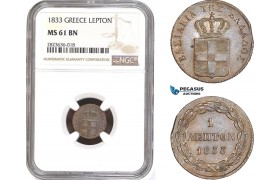AC300, Greece, Othon, 1 Lepton 1833, Munich, NGC MS61BN