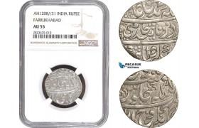 AC302-R, India, Farrukhabad, Rupee AH1208/31, Silver, NGC AU55