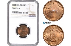 AC303-R, India, 1 Pice 1950 (C) Calcutta, NGC MS65RB